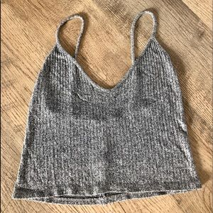 Brandy Melville Gray Ribbed Knit Cropped Top